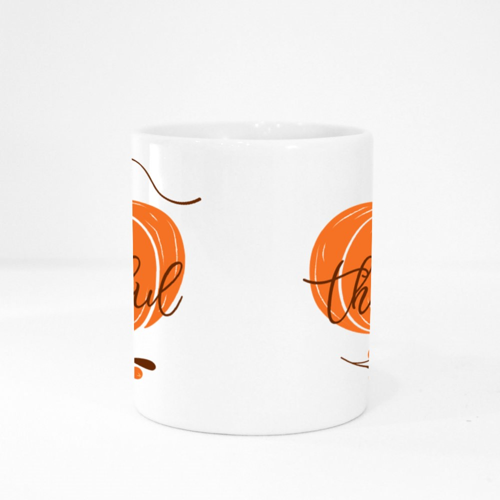 Be Thankful Text Decorated Fall Branch With Berry on Pumpkin Colour Mugs