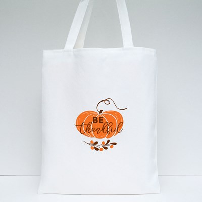 Be Thankful Text Decorated Fall Branch With Berry on Pumpkin Tote Bags