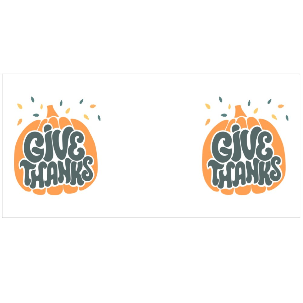 Give Thanks Hand Drawn Lettering Decorated With Leaveson Pumpkin Colour Mugs