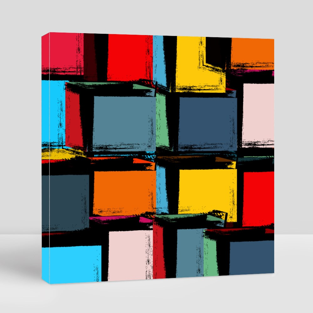 Modern Grunge Cubism Abstract Canvas (Square)