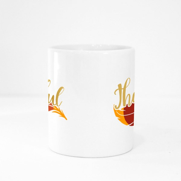 Thankful Decorated Feather Ornament Colour Mugs