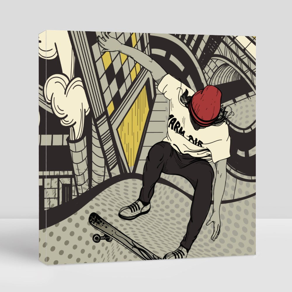 Vector Illustration of an Urban Boy Jumping on a Skateboard Canvas (Square)