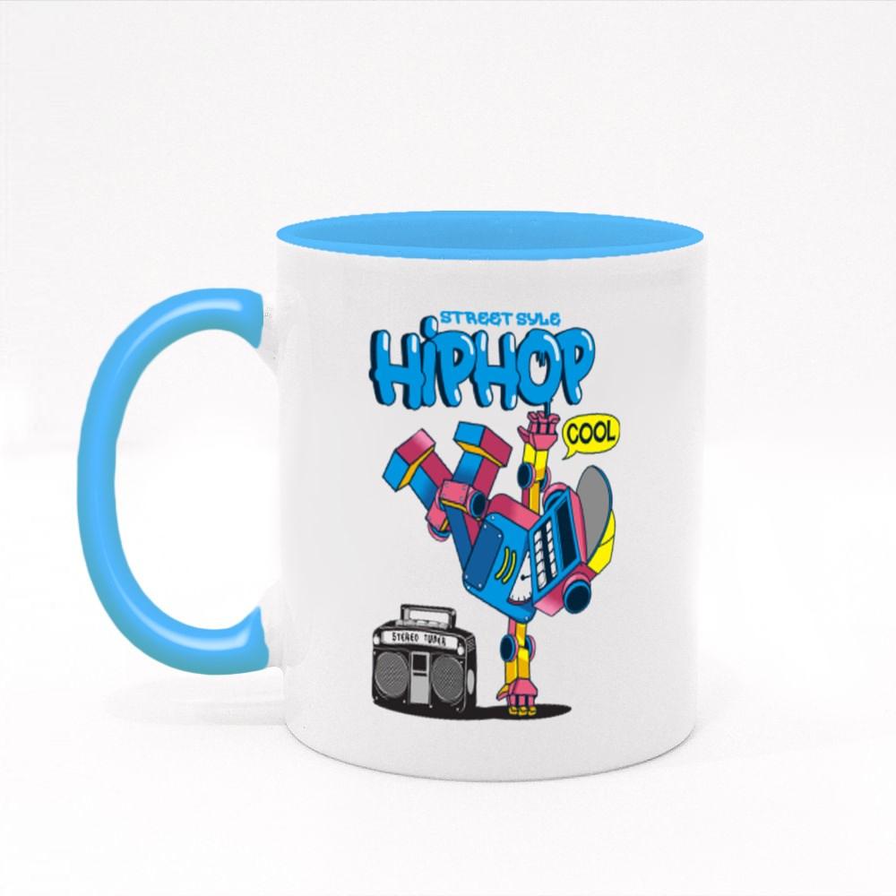 Cool Retro Robot Doing Hip Hop Dance Colour Mugs
