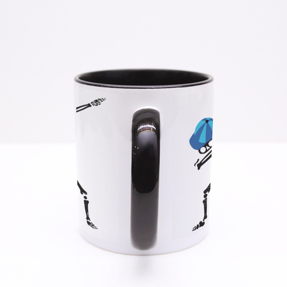 White Skeleton Character Dancing Dab Step With Kid Cap Colour Mugs