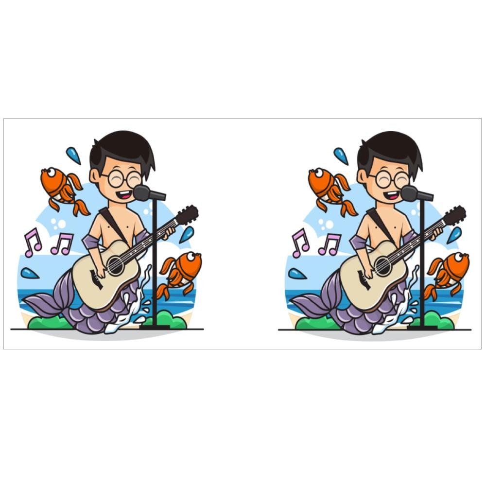 Cute Mermaid Boy Character Singing While Playing Guitar Colour Mugs