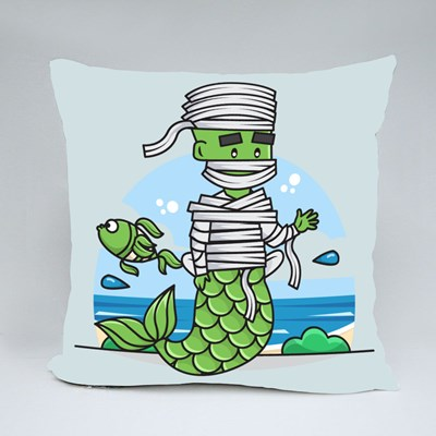 Graphic of Mermaid Mummy Character Throw Pillows