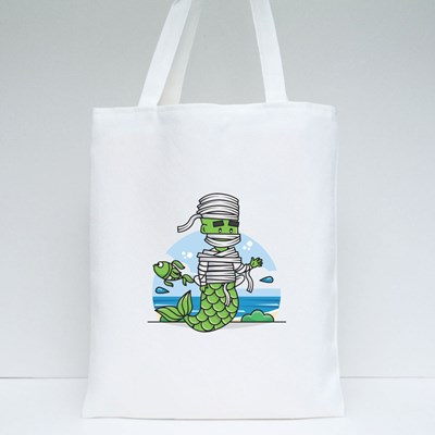 Graphic of Mermaid Mummy Character Tote Bags