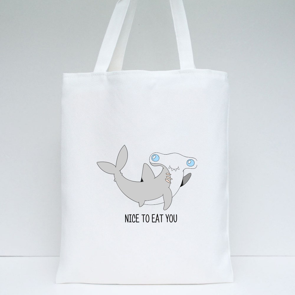 Smiling Little Baby Shark, Isolated Childish Trendy Simple Art Tote Bags