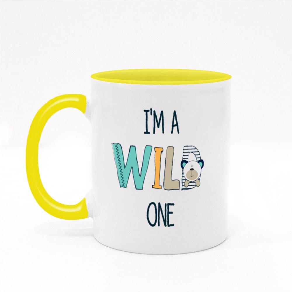 Cute Teddy Bear With I Am a Wild One Colour Mugs