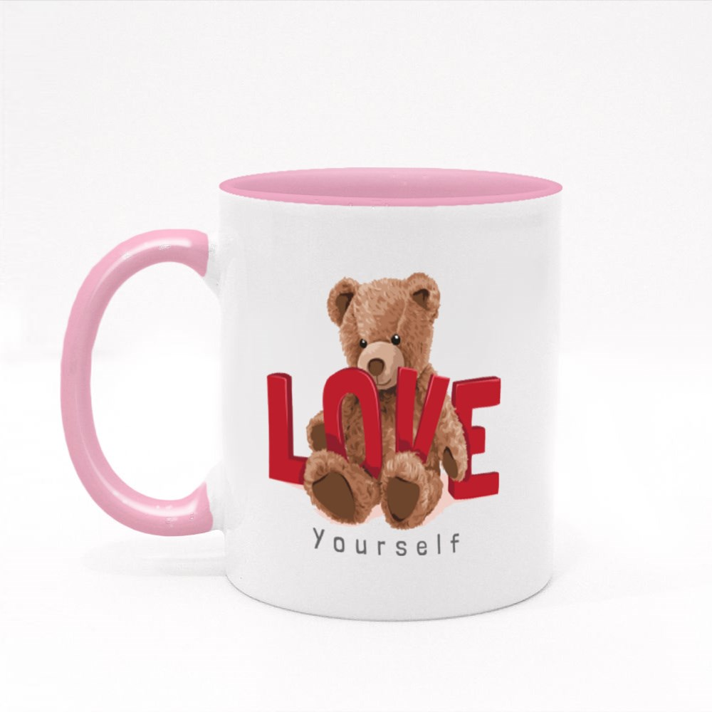 Cute Bear Toy With Red Love Slogan Illustration Colour Mugs