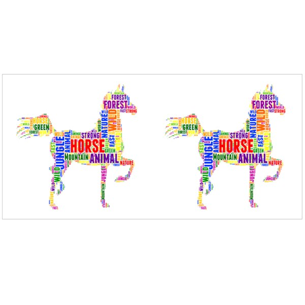 Colorful Letters Horse Silhouette Colour Mugs