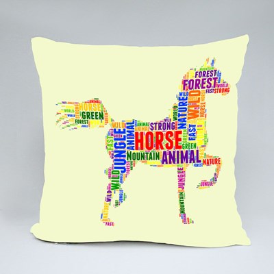 Colorful Letters Horse Silhouette Throw Pillows