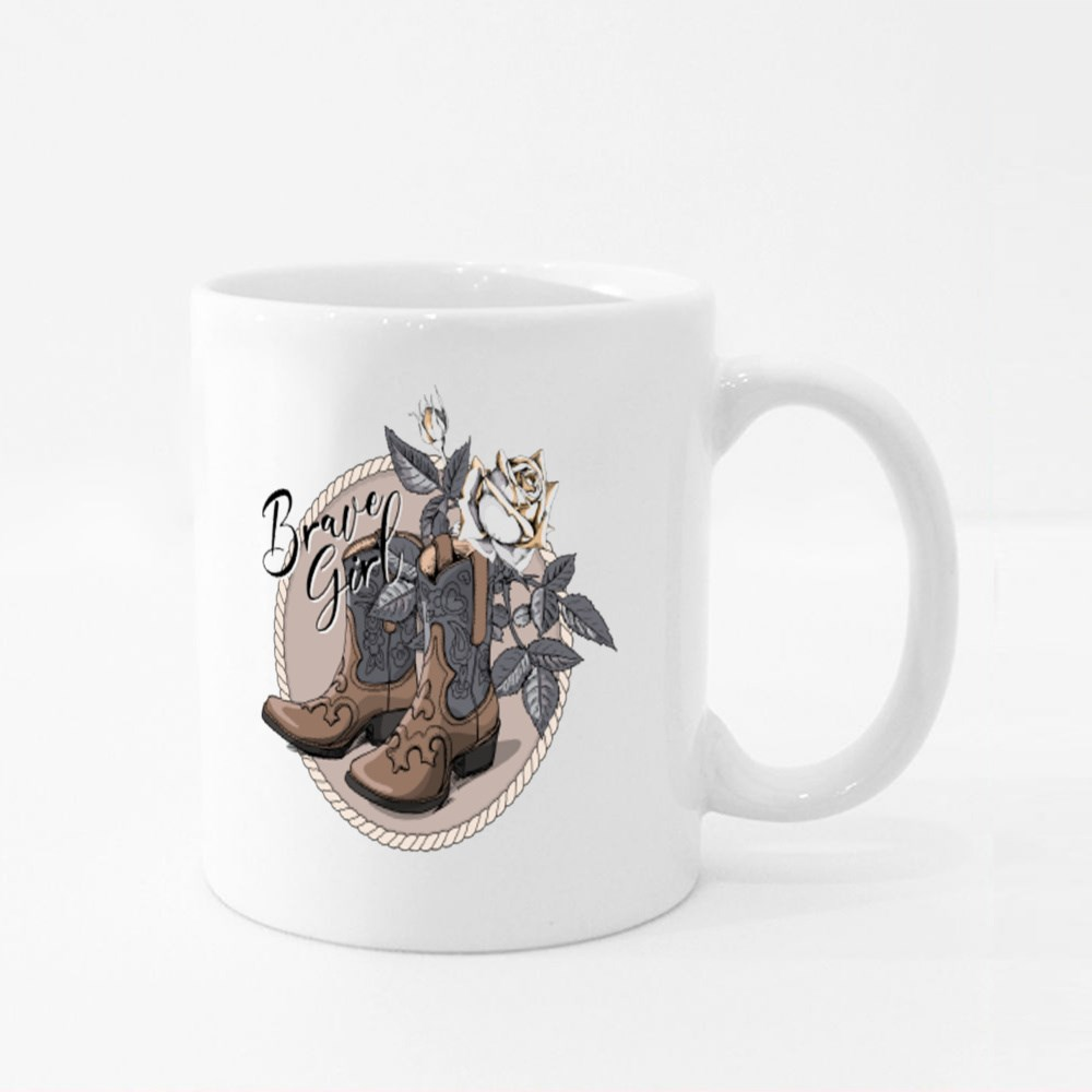 Ranch Cowgirl Boots and Roses Colour Mugs