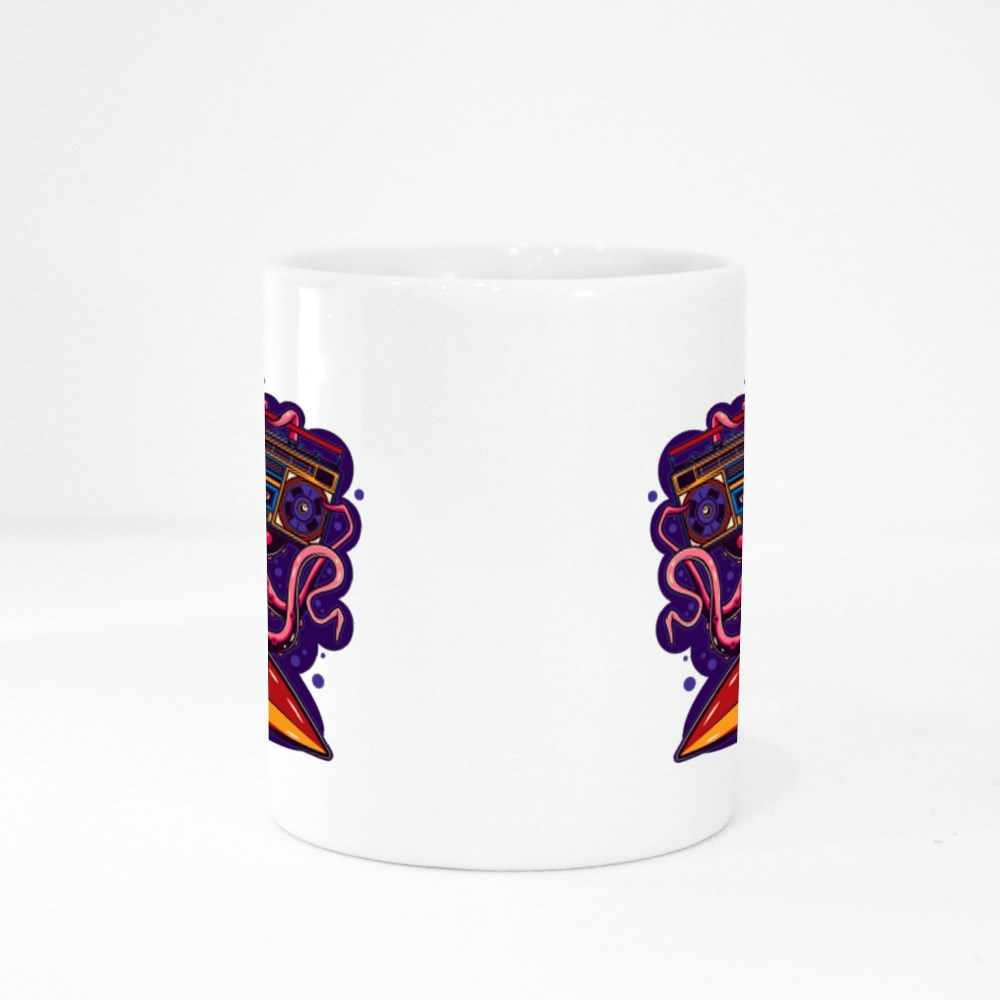 Octopus With Glasses With Boombox and Surfing in Hands Colour Mugs