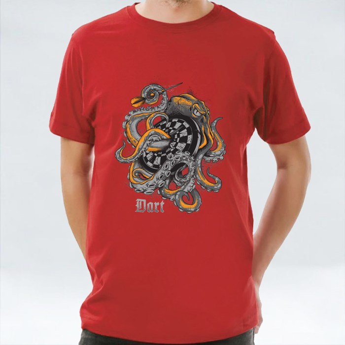 Octopus Wrapped Around a Dart Board T-Shirts
