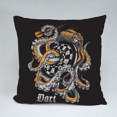 Octopus Wrapped Around a Dart Board Throw Pillows