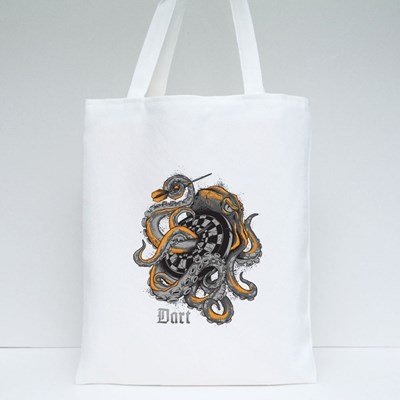 Octopus Wrapped Around a Dart Board Tote Bags