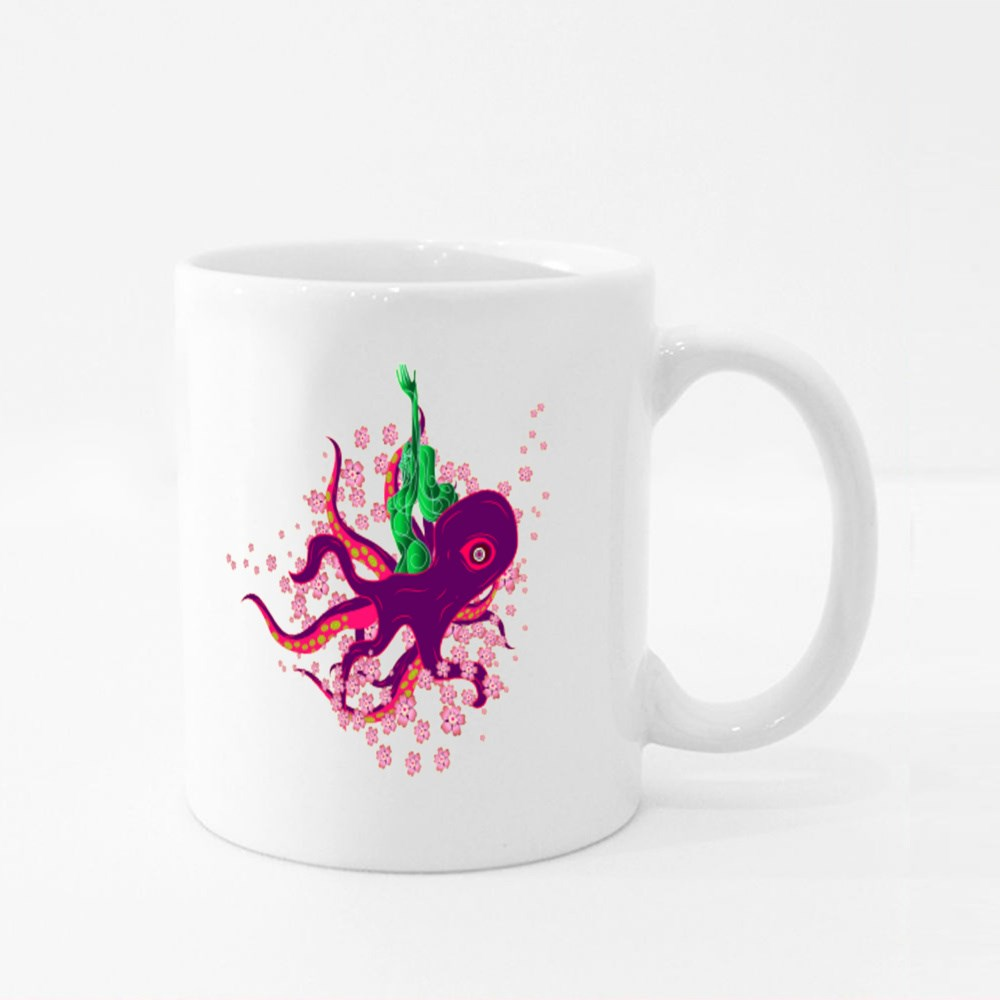 Octopus in Japanese Style Colour Mugs