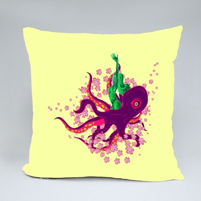 Octopus in Japanese Style Throw Pillows