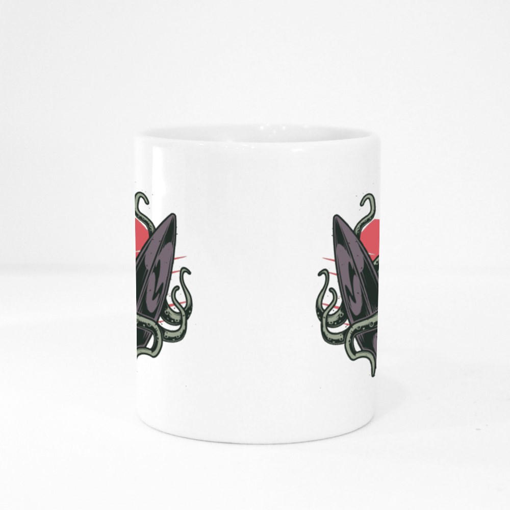 Octopus and Surfing Board Colour Mugs