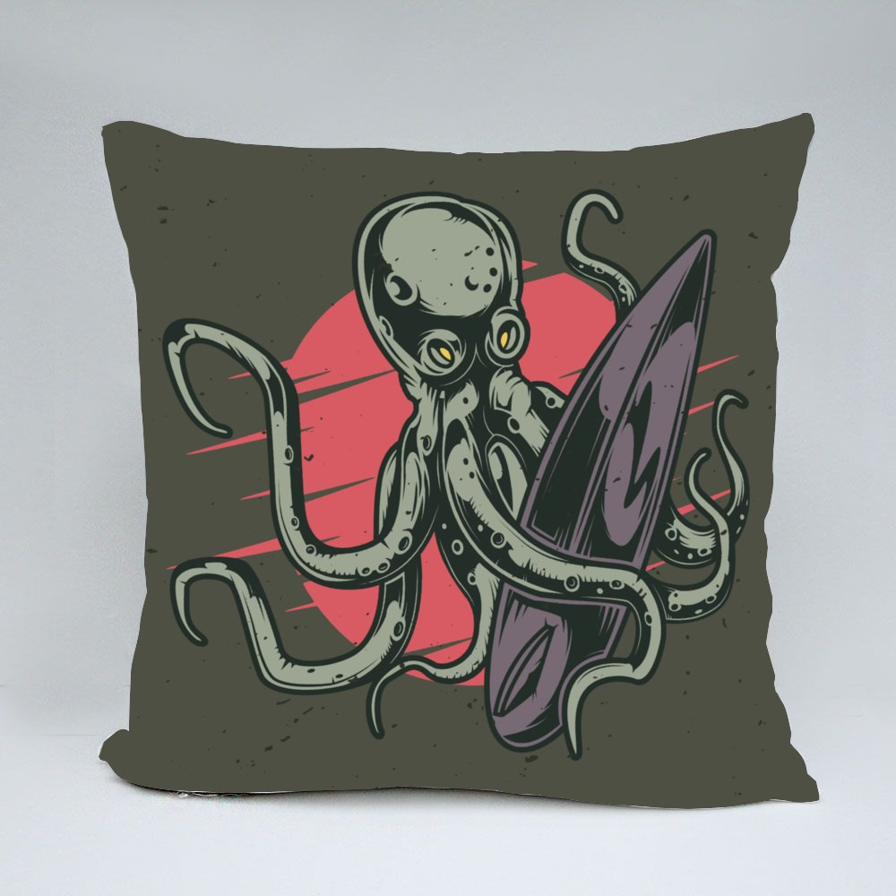 Octopus and Surfing Board Throw Pillows