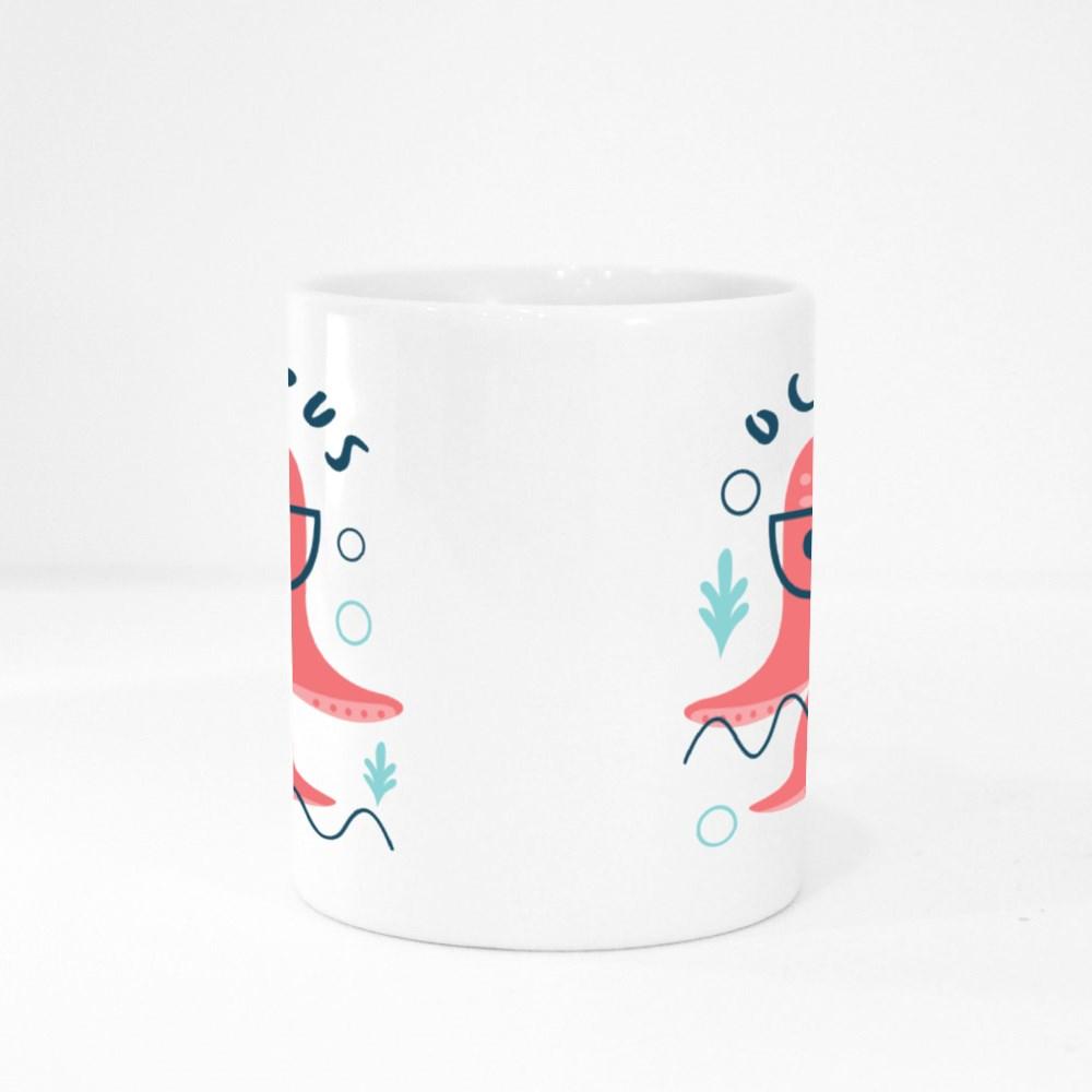Cute Octopus Wearing Glasses Colour Mugs