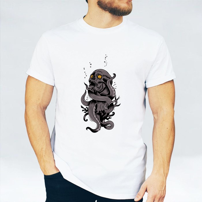 Skull Metamorphing Into a Tentacle T-Shirts