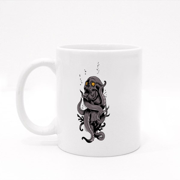 Skull Metamorphing Into a Tentacle Colour Mugs