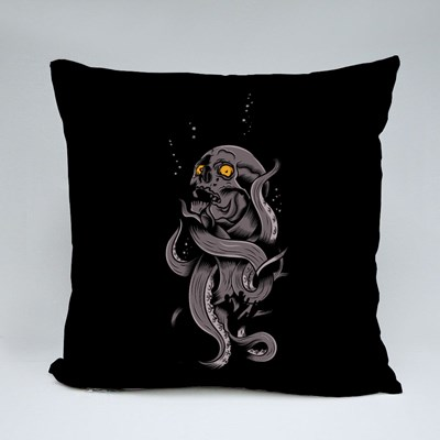 Skull Metamorphing Into a Tentacle Throw Pillows