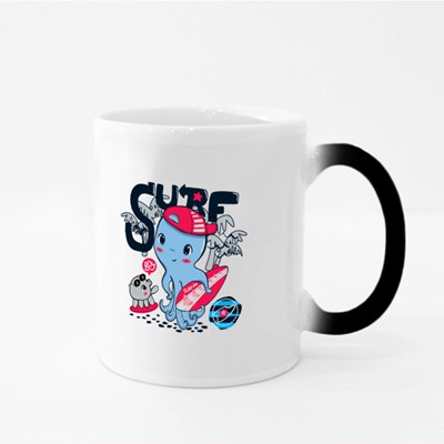 Cute Surfer Octopus Wearing Hat and Holding Surfboard Magic Mugs