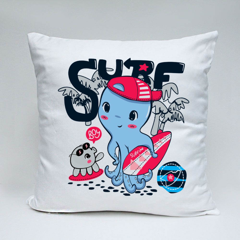 Cute Surfer Octopus Wearing Hat and Holding Surfboard Bantal