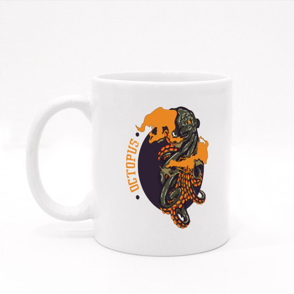 Octopus With A Violent Colouring Colour Mugs
