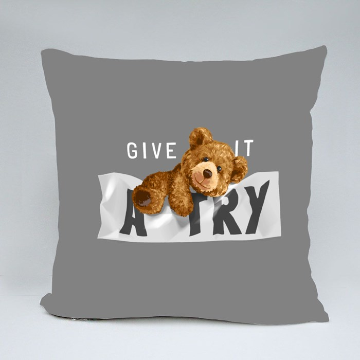 Bear Toy Climbing Wrinkled Sign Throw Pillows