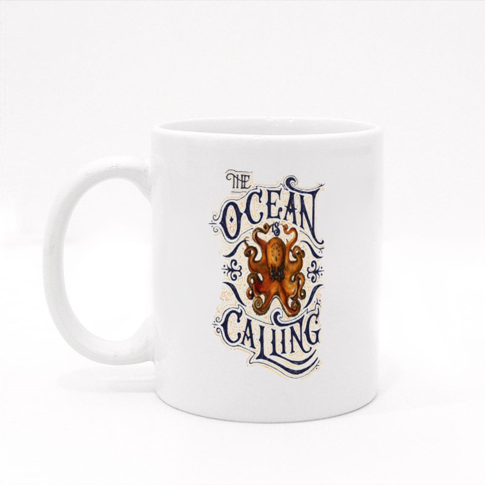 The Ocean Is Calling Colour Mugs