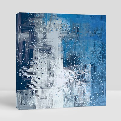 Blue and White Abstract Painting 帆布畫(正方形)