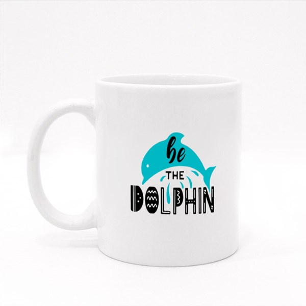 Be the Dolphin Lettering With a Dolphin Colour Mugs