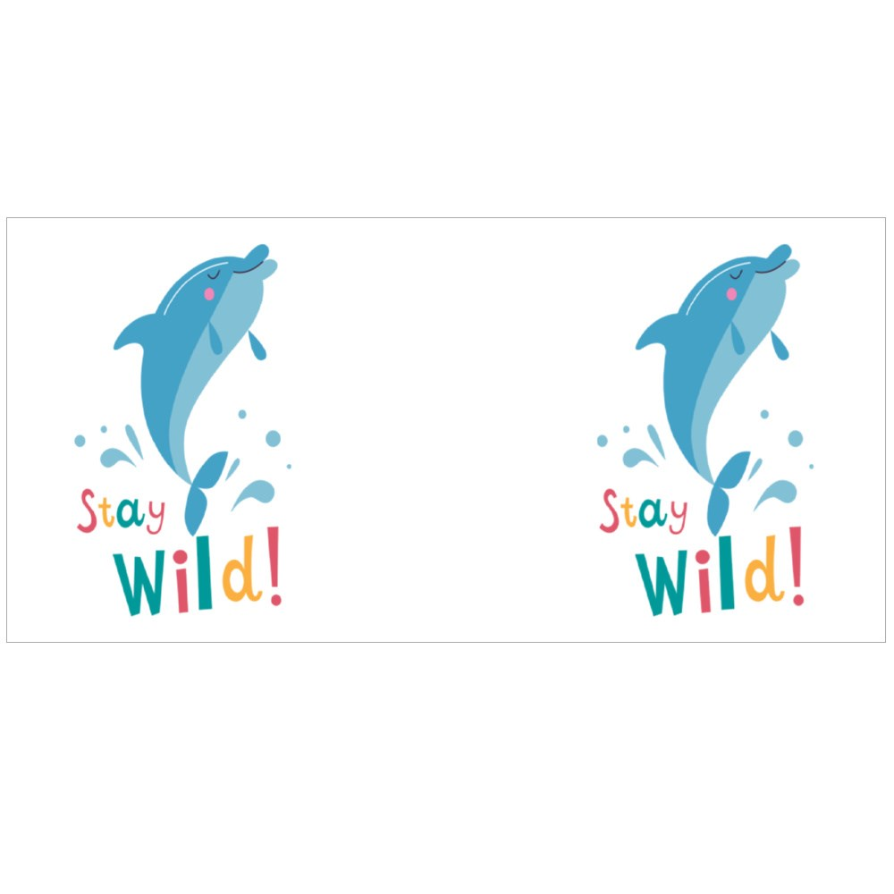 Stay Wild. Funny With Cute Dolphin. Colour Mugs