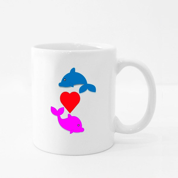 Cute Dolphin With the One in Love Colour Mugs