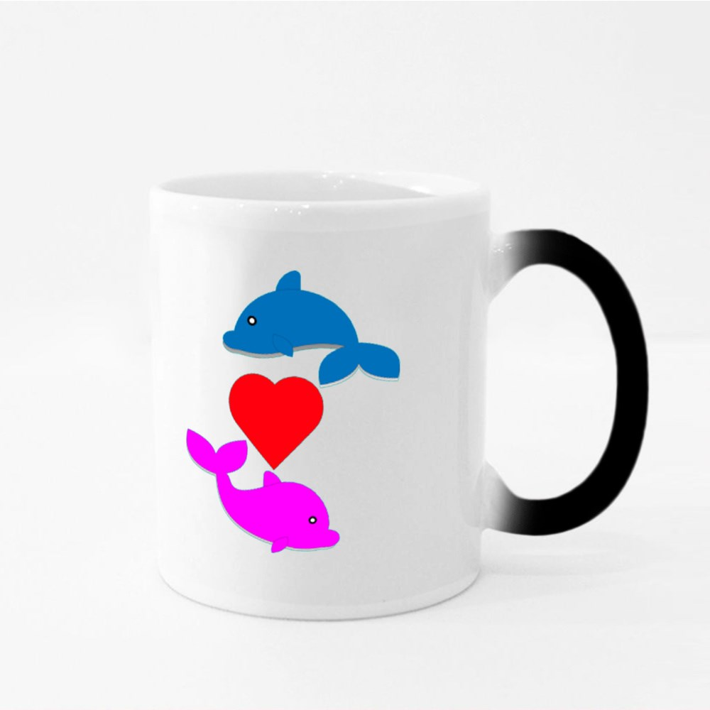 Cute Dolphin With the One in Love Magic Mugs