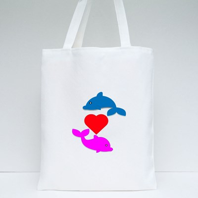 Cute Dolphin With the One in Love Tote Bags