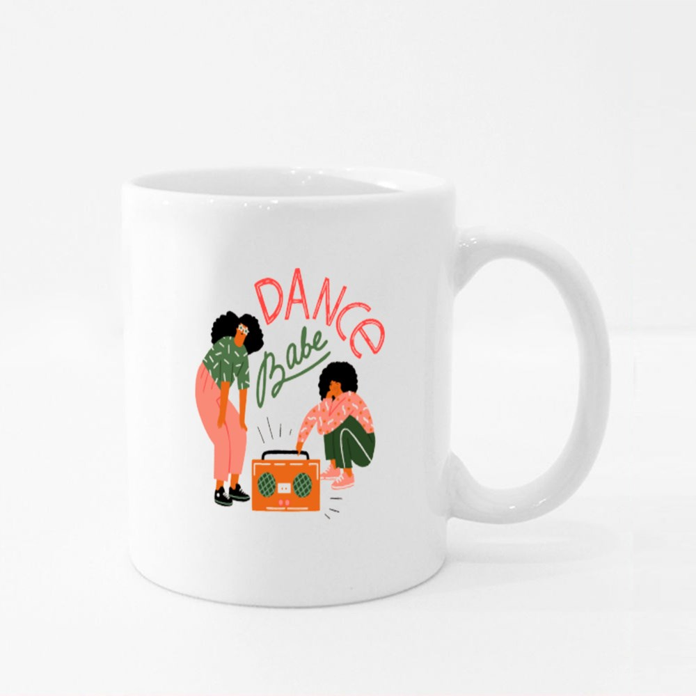 Funky Girls With Record Player Dancing on the Street Colour Mugs