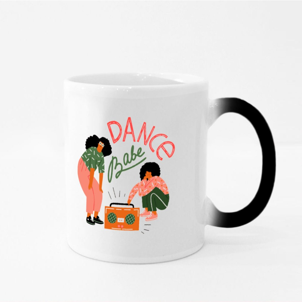 Funky Girls With Record Player Dancing on the Street Magic Mugs
