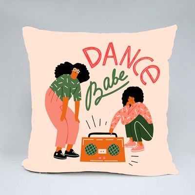 Funky Girls With Record Player Dancing on the Street Throw Pillows