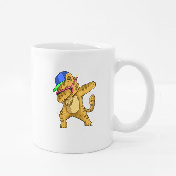 Cute Cat Dabbing Dance Colour Mugs