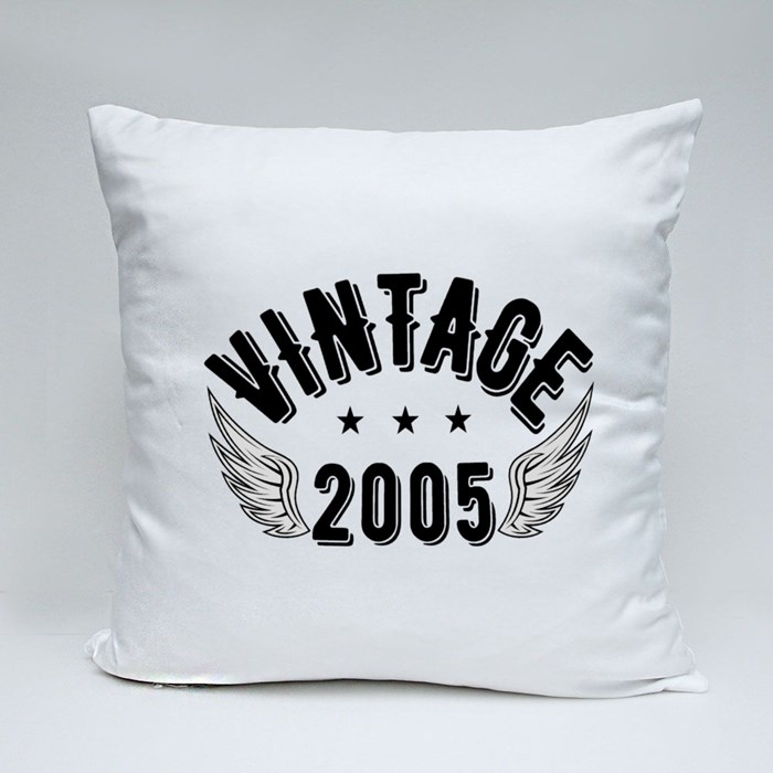 Vintage 2005 B Throw Pillows