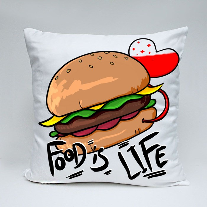 Food Is Life Throw Pillows