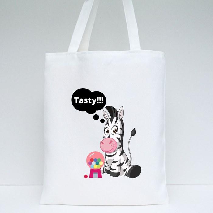 Zebra Loves Bubble Gum Tote Bags