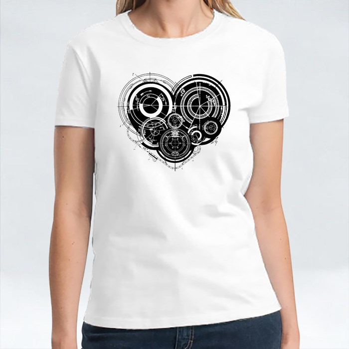 Heart With Mechanism Architectural Theme T-Shirts