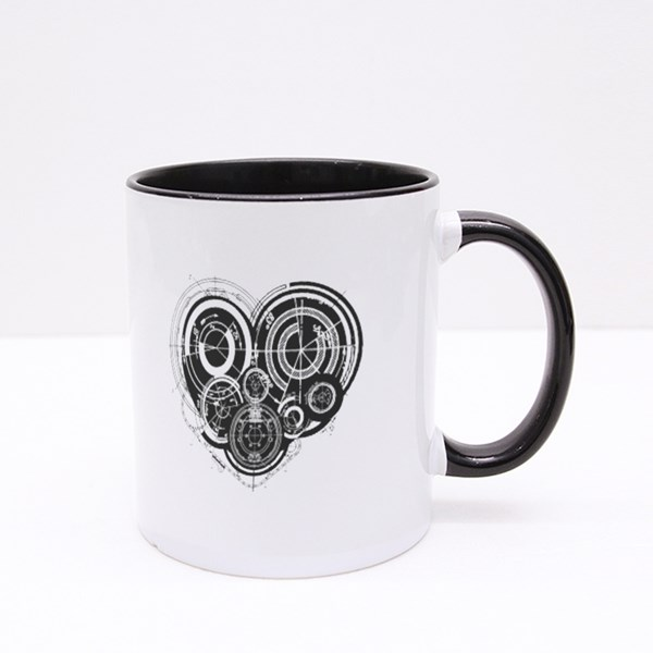 Heart With Mechanism Architectural Theme Colour Mugs