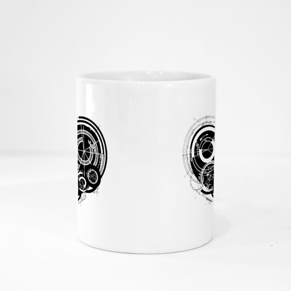 Heart with Mechanism Architectural Theme Magic Mugs